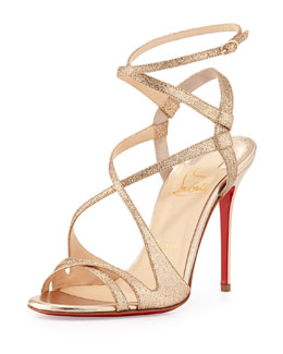 Christian Louboutin Audrey Strappy Glitter Red Sole Sandal, Poudre
