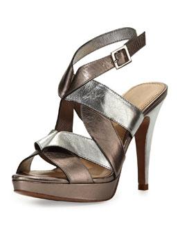 Nanette Lepore Love Knot Metallic Platform Sandal, Silver