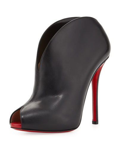 Christian Louboutin Chester Fille Peep-Toe Red Sole Bootie, Black/Red