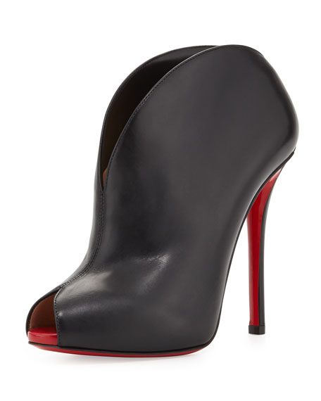 replica mens dress shoes - Christian Louboutin Chester Fille Peep-Toe Red Sole Bootie, Black/Red