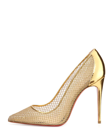 Christian Louboutin Follies Resille Glitter Fishnet Pump, Natural Gold