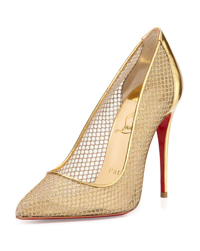 Christian Louboutin Follies Resille Glitter Fishnet Pump, Natural Gold