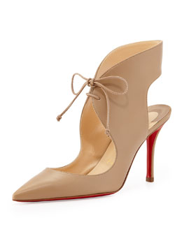 Christian Louboutin Franka Lace-Up Red Sole Pump, Dune