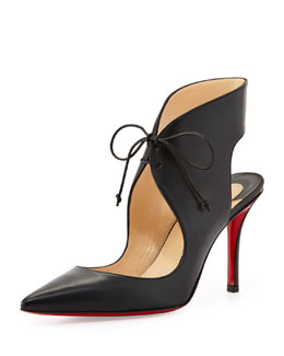 Christian Louboutin Franca Lace-Up Red Sole Pump, Black
