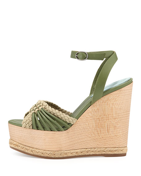 Tiberias Wooden Wedge Ankle-Wrap Sandal