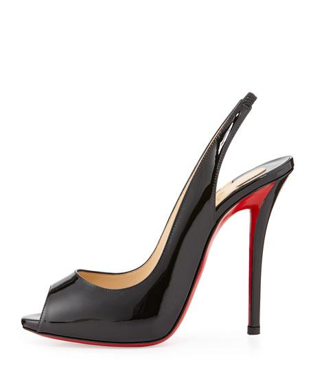 Gamma Talon Patent Red Sole Slingback Sandal, Black