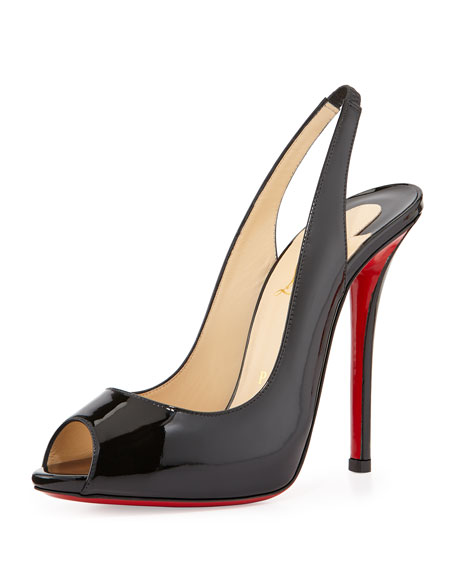 Gamma Talon Patent Red Sole Slingback Sandal, Black