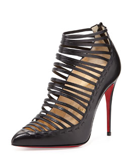 Christian Louboutin Gortik Strappy Red-Sole Bootie, Black