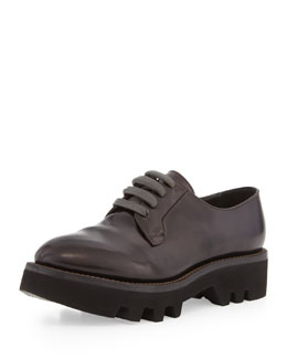 Brunello Cucinelli Lace-Up Leather Creeper Shoe, Dark Burgundy