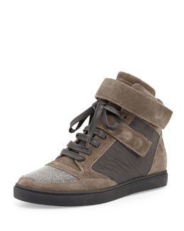 Brunello Cucinelli Grip-Strap Suede Hi-Top Sneaker, Grayish Brown