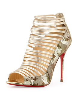 Christian Louboutin Gortika Camo & Metallic Red Sole Bootie, Gold/Platine