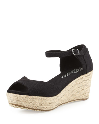 TOMS Canvas Platform Wedge Sandal, Black