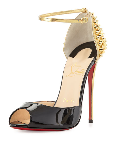Christian Louboutin Pina Spike Red Sole Sandal, Black/Gold
