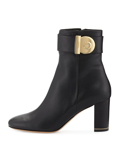 Nicy Lock Leather Ankle Boot, Nero