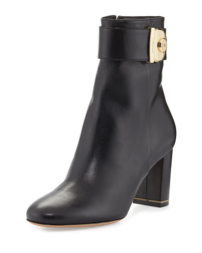 Salvatore Ferragamo Nicy Lock Leather Ankle Boot, Nero