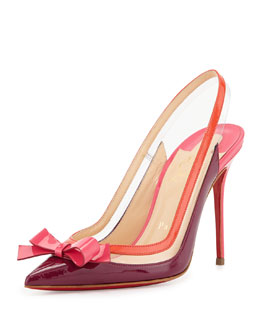 Christian Louboutin Suspenodo Red-Sole Colorblock Slingback Pump
