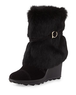 Salvatore Ferragamo Nuccio Fur Cold Weather Boot, Nero