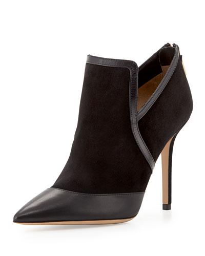 Salvatore Ferragamo Nume Point-Toe Suede Bootie