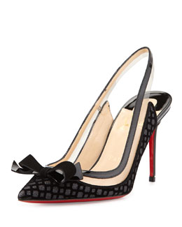 Christian Louboutin Suspenodo Flocked Red-Sole Slingback Pump