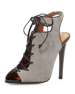 Rebecca Minkoff Rio Nubuck Lace-Up Bootie, Elephant Gray