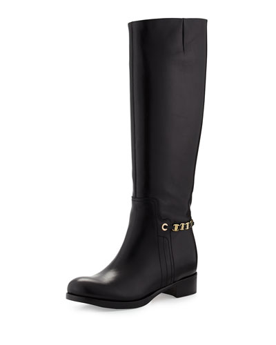 Salvatore Ferragamo Nando Chain-Strap Leather Knee Boot, Nero