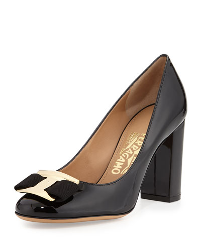 Salvatore Ferragamo Ninna Patent Leather Bow Pump, Nero