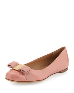 Salvatore Ferragamo Varina Leather Ballet Flat, Blush