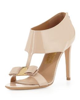 Salvatore Ferragamo Pellas Patent T-Strap Bow Sandal