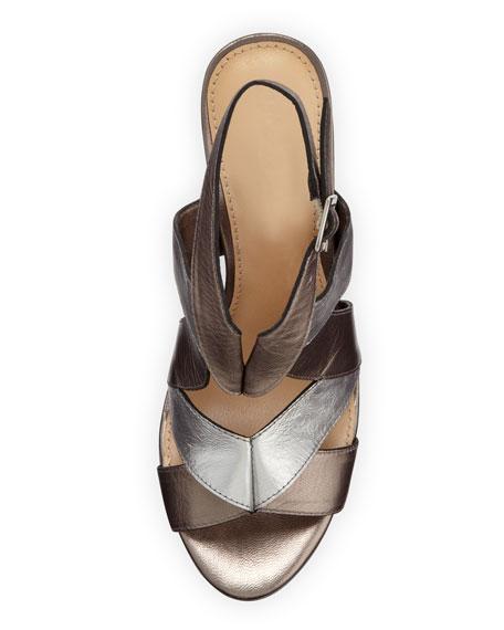 Absolute Wonder Metallic Wedge Sandal, Silver