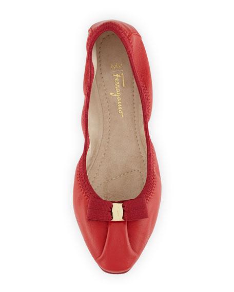 231f2da0d748f Salvatore Ferragamo My Joy Leather Ballerina Flat, Rosso (Red) | Neiman  Marcus