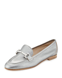 Salvatore Ferragamo My Informal Metallic Gancini Loafer, Plume