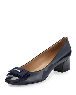 Salvatore Ferragamo My Muse Patent Bow Pump, Oxford Blue