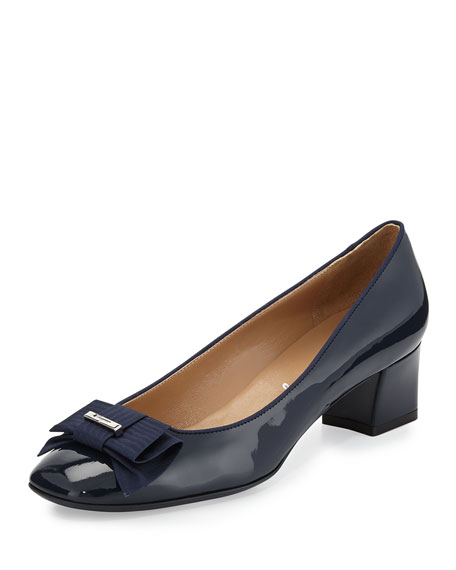 My Muse Patent Bow Pump, Oxford Blue