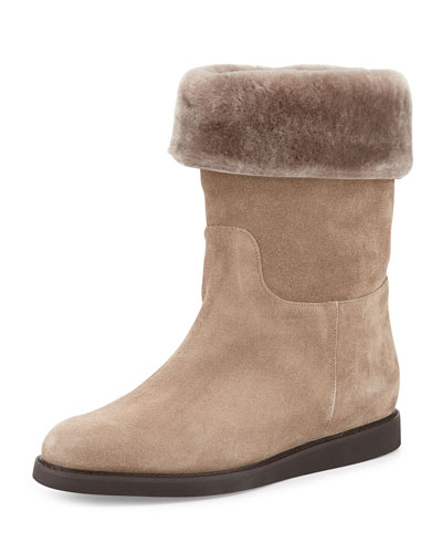 Salvatore Ferragamo My Ease Low Shearling Boot, Moss