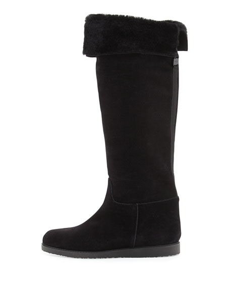 High Shearling Fur Boot, Black