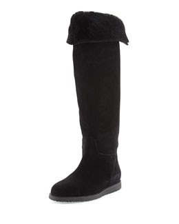 Salvatore Ferragamo My Ease High Shearling Fur Boot, Black