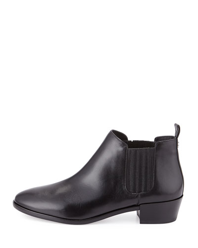 Shaw Flat Leather Bootie, Black