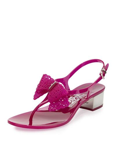 Salvatore Ferragamo Perala Jelly Bow Thong Sandal, Grape