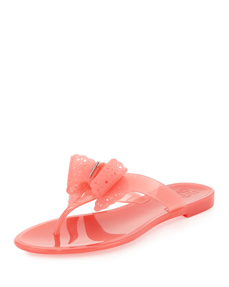 Pandy Lace-Bow Jelly Thong Sandal, Blush