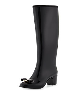 Salvatore Ferragamo Nipper Bow Rain Boot, Nero