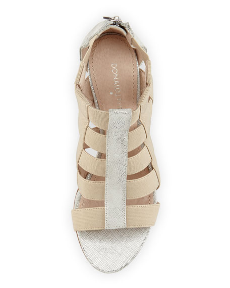 Pira Metallic Stretch Wedge Sandal, Foam