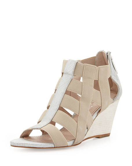 Pira Metallic Stretch Wedge Sandal, Foam