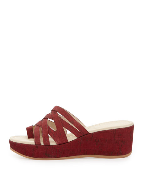 Salma Colored Cork Wedge Sandal, Rouge