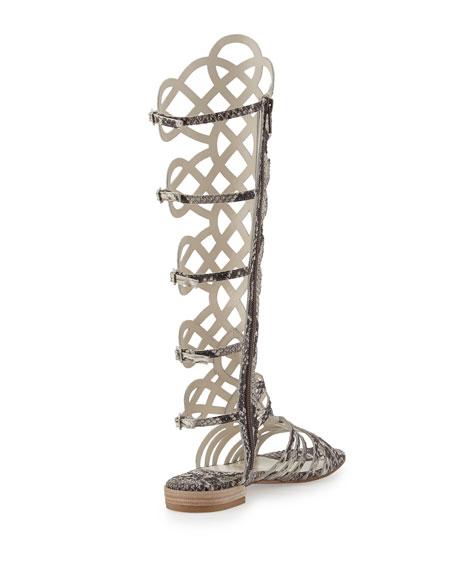 Aphrodite Snake-Print Leather Gladiator Sandal