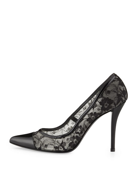 Lacepump Pointy-Toe Pump, Black