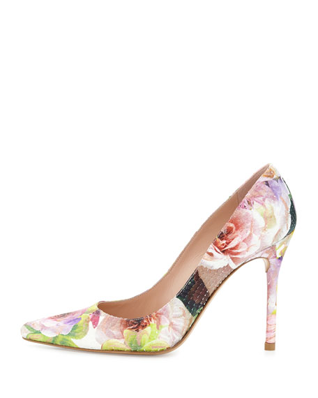 Nouveau Floral-Print Python Pump, Rose Multo