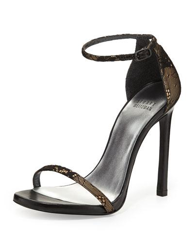 Stuart Weitzman Nudist Lace Ankle-Strap Sandal, Black
