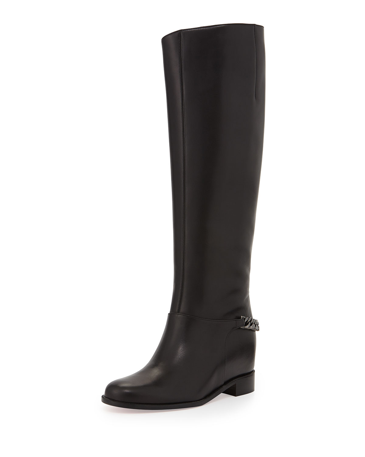 3f55142eda1 Cate Chain-Trim Red Sole Knee Boot