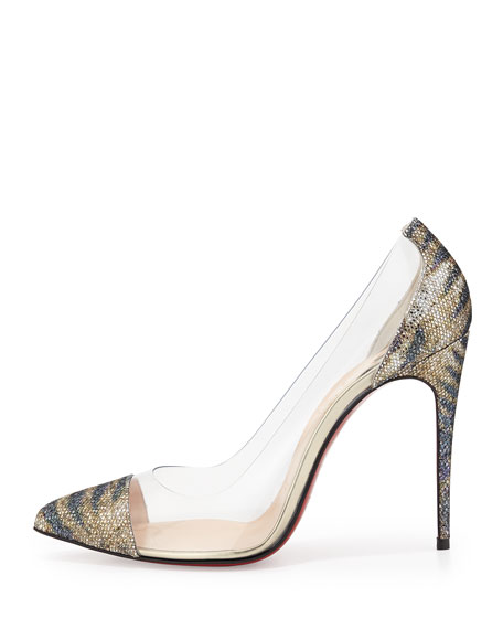 Christian Louboutin Debout Glitter & PVC Red Sole Pump, Gold