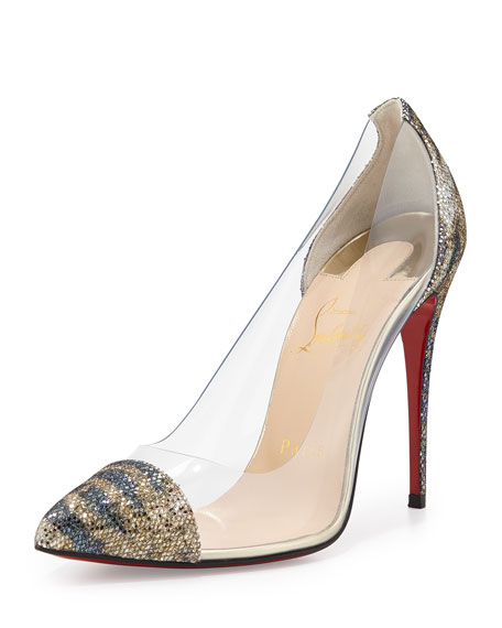 Debout Glitter & PVC Red Sole Pump, Gold